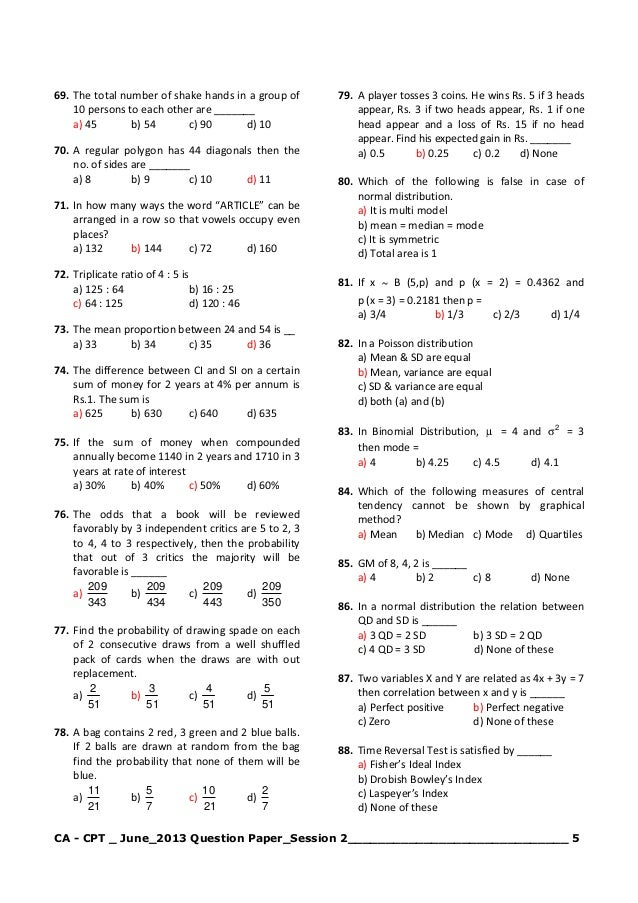 Cpt June 2013 Question Paper With Answers Pdf