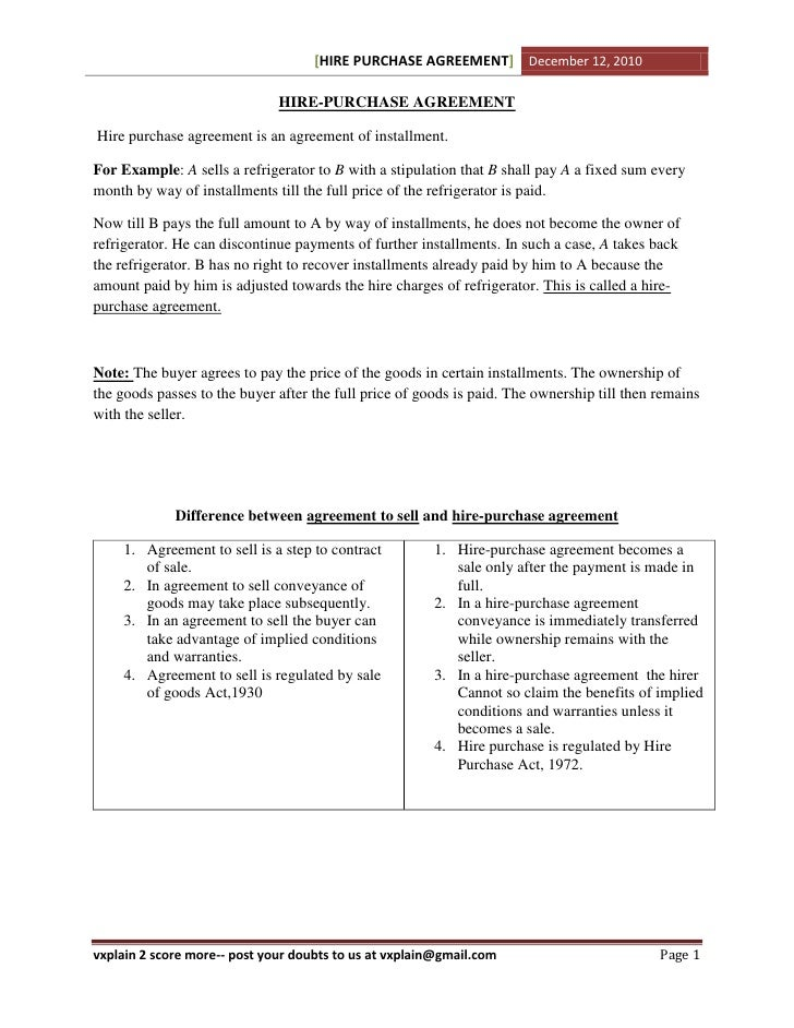 Cpt Law Hire Purchase Agreement Revision Sheet
