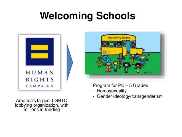Welcoming Schools Program for PK – 5 Grades - Homosexuality - Gender ideology/transgenderism America's largest LGBTQ lobby...