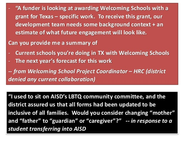 """""""I used to sit on AISD's LBTQ community committee, and the district assured us that all forms had been updated to be inclu..."""