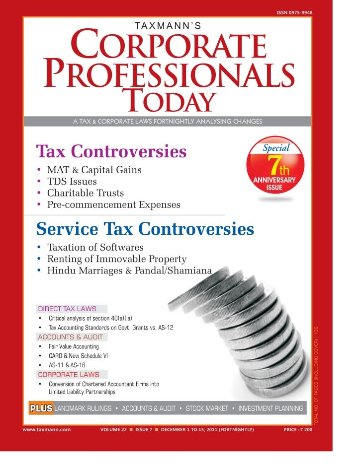 December 1 to 15, 2011 Taxmann's Corporate Professionals Today Vol. 22 n 1   i