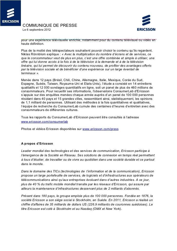 COMMUNIQUE DE PRESSE Le 6 septembre 2012pour une expérience télévisuelle enrichie, notamment pour du contenu télévisuel ou...