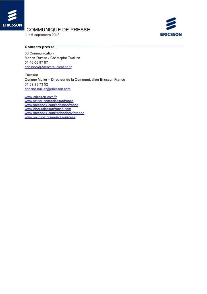 COMMUNIQUE DE PRESSE Le 6 septembre 2012Contacts presse :3d CommunicationMarion Dumas / Christophe Tuaillon01 46 05 87 87e...