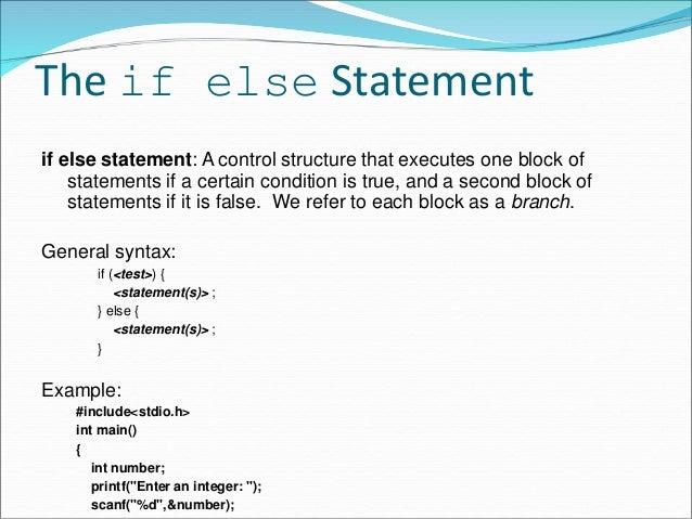 Nesting of if else statement & Else If Ladder