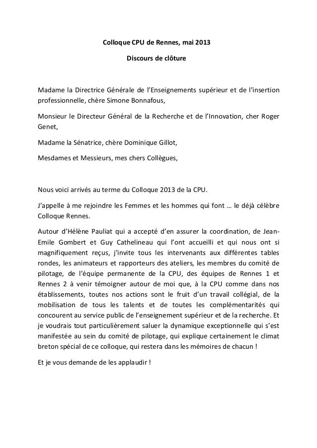 Colloque CPU de Rennes, mai 2013Discours de clôtureMadame la Directrice Générale de l'Enseignements supérieur et de l'inse...