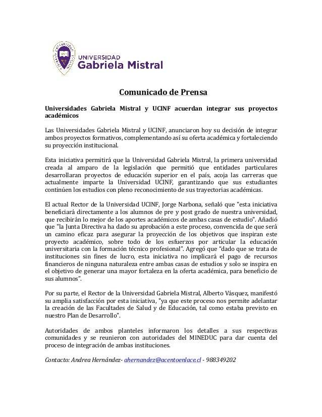 ComunicadodePrensa  Universidades Gabriela Mistral y UCINF acuerdan integrar sus proyectos académicos  Las...