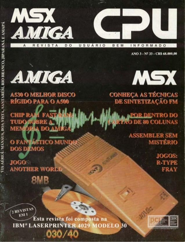 Revista CPU MSX AMIGA - No. 33 - 1988