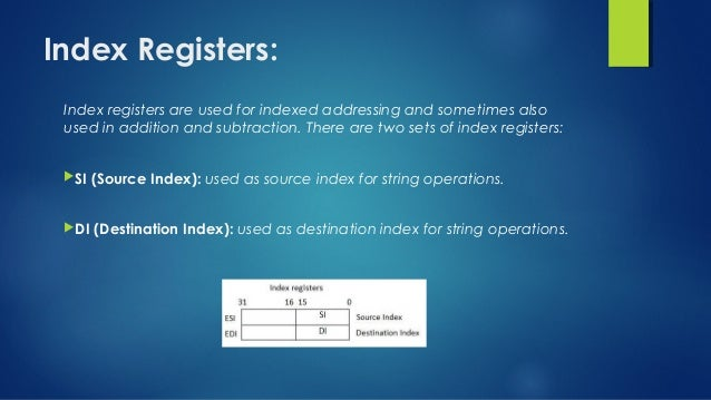 Index Registers: Index registers are used for indexed addressing and sometimes also used in addition and subtraction. Ther...