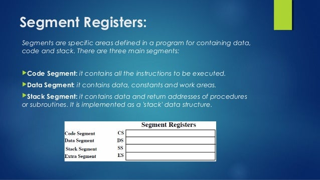 Segment Registers: Segments are specific areas defined in a program for containing data, code and stack. There are three m...