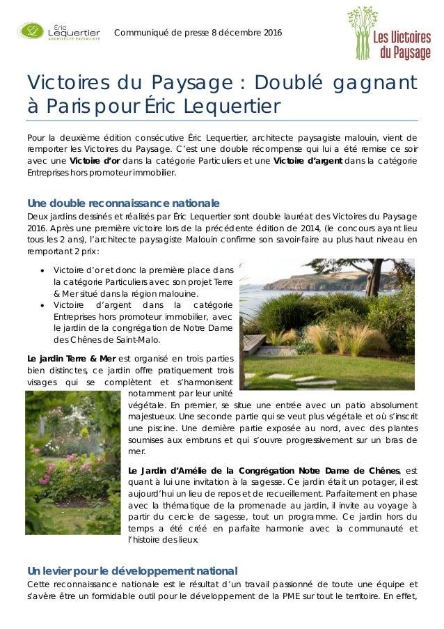 Victoires Du Paysage Double Gagnant A Paris Pour Eric Lequertie