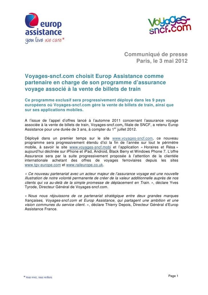 Communiqué de presse                                                             Paris, le 3 mai 2012Voyages-sncf.com choi...