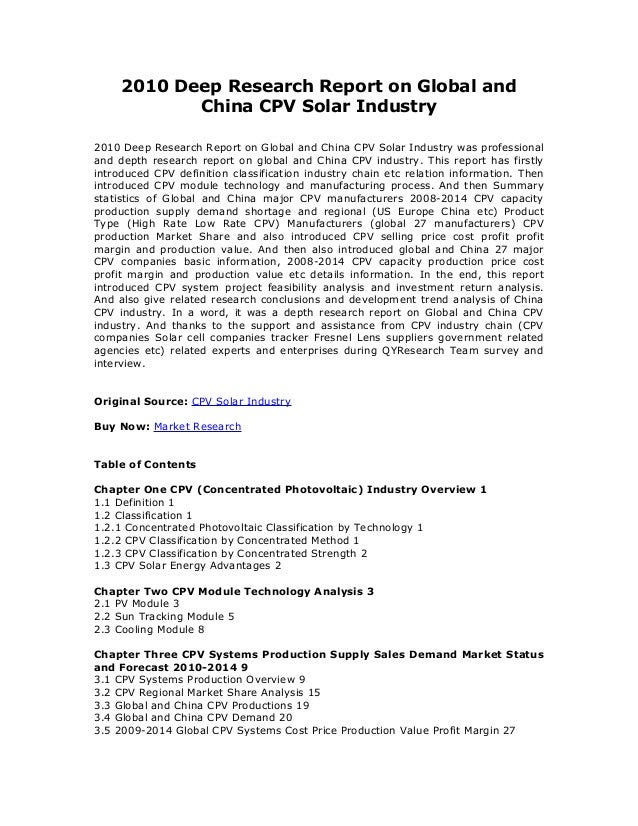 2010 Deep Research Report on Global and China CPV Solar Industry 2010 Deep Research Report on Global and China CPV Solar I...
