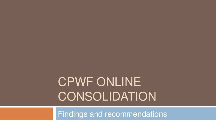 CPwf Online Consolidation<br />Findings and recommendations<br />