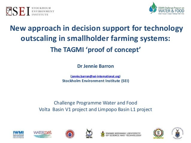New approach in decision support for technology  outscaling in smallholder farming systems:  The TAGMI 'proof of concept' ...