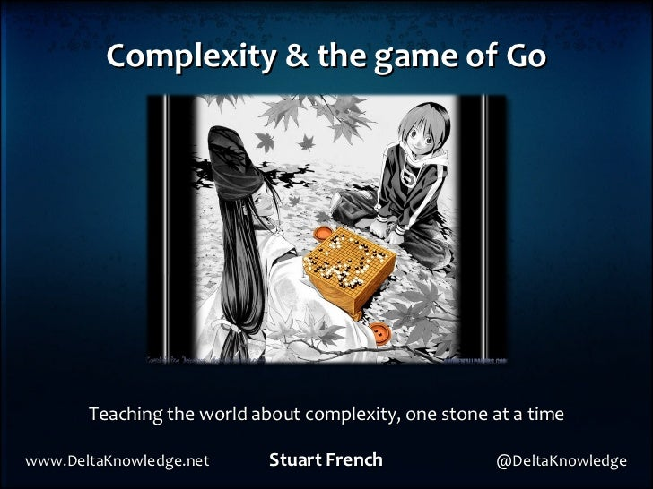 Complexity & the game of Go Teaching the world about complexity, one stone at a time www.DeltaKnowledge.net  Stuart French...