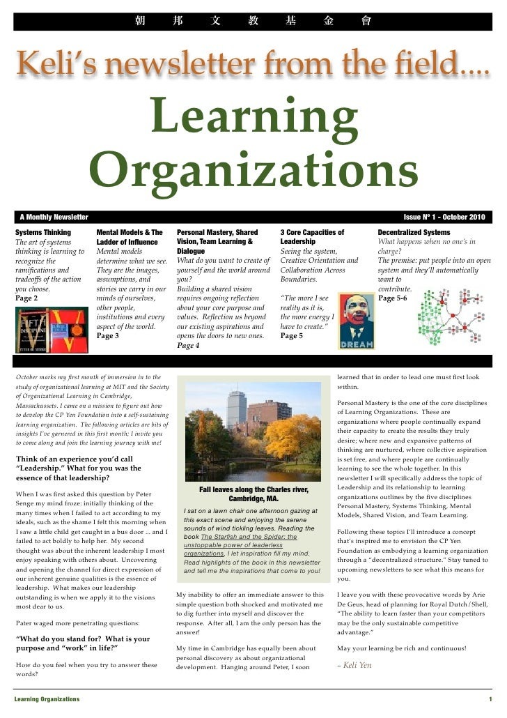 v     Keli's newsletter from the field....                             Learning                           Organizations  A...