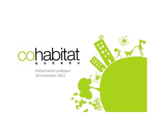 Présenta)on publique 29 novembre 2012
