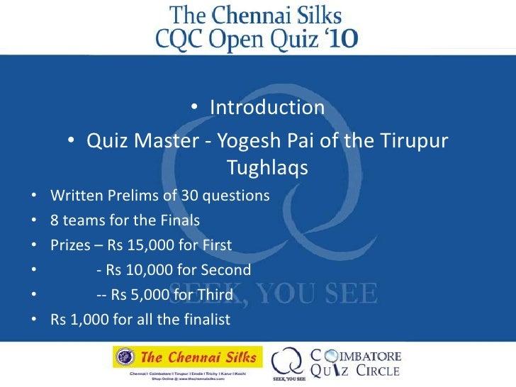 The Chennai Silks Cqc Annual Quiz 2010 Prelims Answers