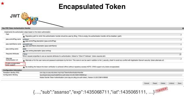 "Encapsulated Token JWT {…,""sub"":""asanso"",""exp"":1435068711,""iat"":1435065111, …} ★ /etc/key/hmac"