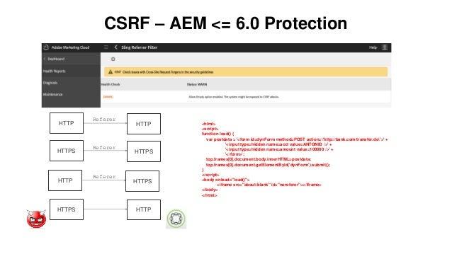 CSRF – AEM <= 6.0 Protection HTTP HTTP Referer HTTPS HTTPS Referer HTTP HTTPS Referer HTTPS HTTP <html> <script> function ...