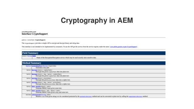 Cryptography in AEM