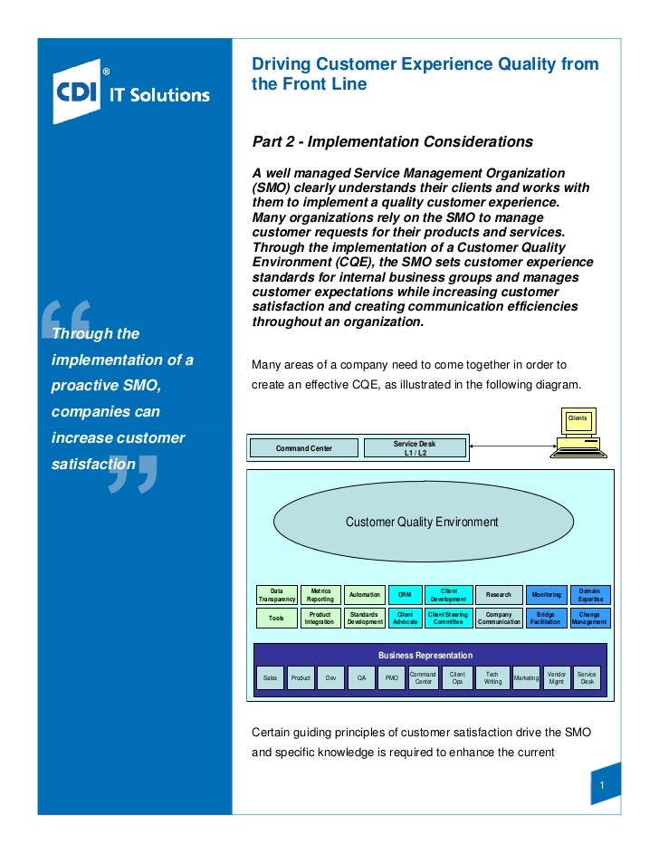 Driving Customer Experience Quality from                      the Front Line                      Part 2 - Implementation ...