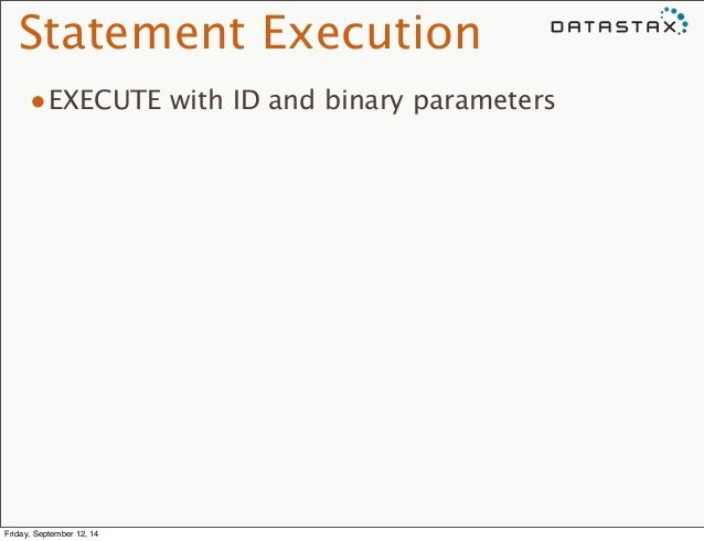 Statement Execution  •EXECUTE with ID and binary parameters  Friday, September 12, 14
