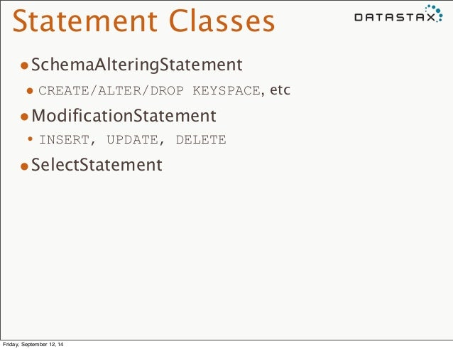 Statement Classes  •SchemaAlteringStatement  • CREATE/ALTER/DROP KEYSPACE, etc  •ModificationStatement  •INSERT, UPDATE, D...