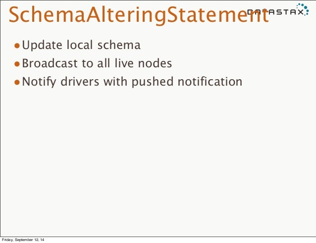 SchemaAlteringStatement  •Update local schema  •Broadcast to all live nodes  •Notify drivers with pushed notification  Fri...
