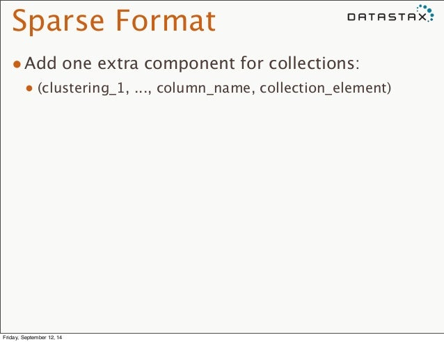 Sparse Format  •Add one extra component for collections:  • (clustering_1, ..., column_name, collection_element)  Friday, ...