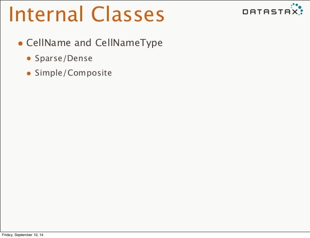 Internal Classes  • CellName and CellNameType  • Sparse/Dense  • Simple/Composite  Friday, September 12, 14