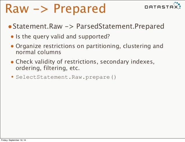 Raw -> Prepared  •Statement.Raw -> ParsedStatement.Prepared  • Is the query valid and supported?  • Organize restrictions ...
