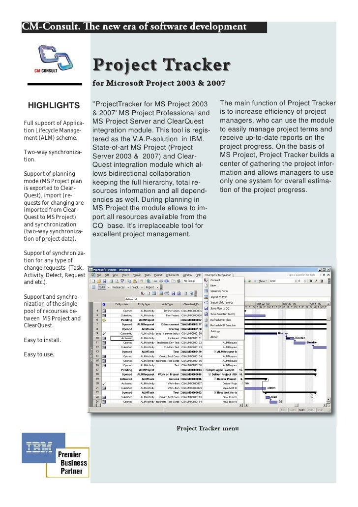 HIGHLIGHTS                 ''ProjectTracker for MS Project 2003      The main function of Project Tracker                 ...