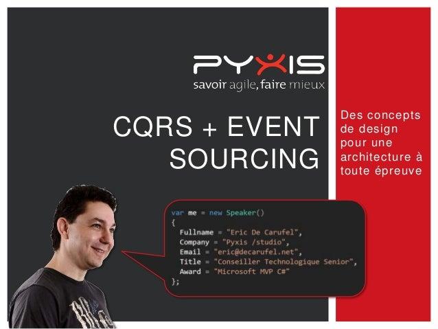 CQRS + EVENT SOURCING  Des concepts de design pour une architecture à toute épreuve