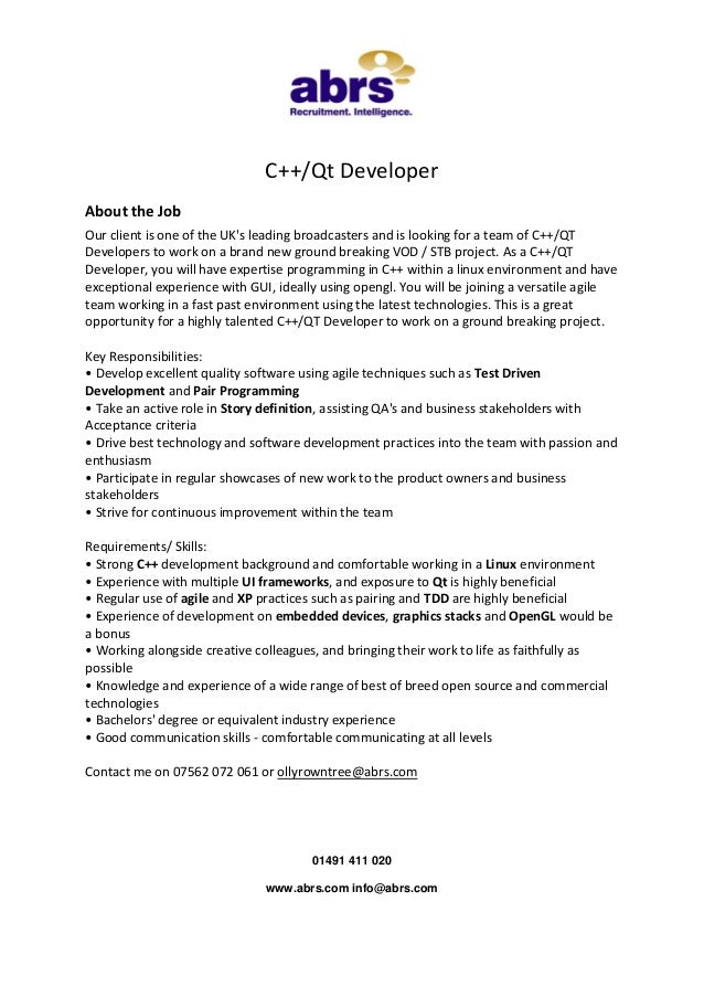 C++/Qt Developer About the Job Our client is one of the UK's leading broadcasters and is looking for a team of C++/QT Deve...