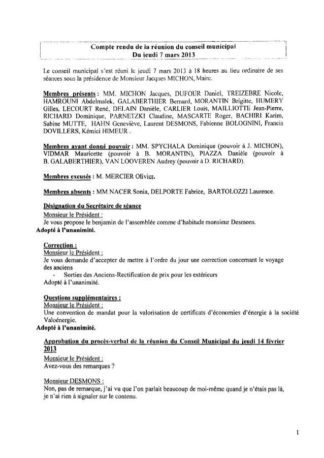 Compte rendu de la réunion du conseil municipal 'j Du ieudi] mars 201} l Le conseil municipal s'est réuni le jeudi 7 mars ...