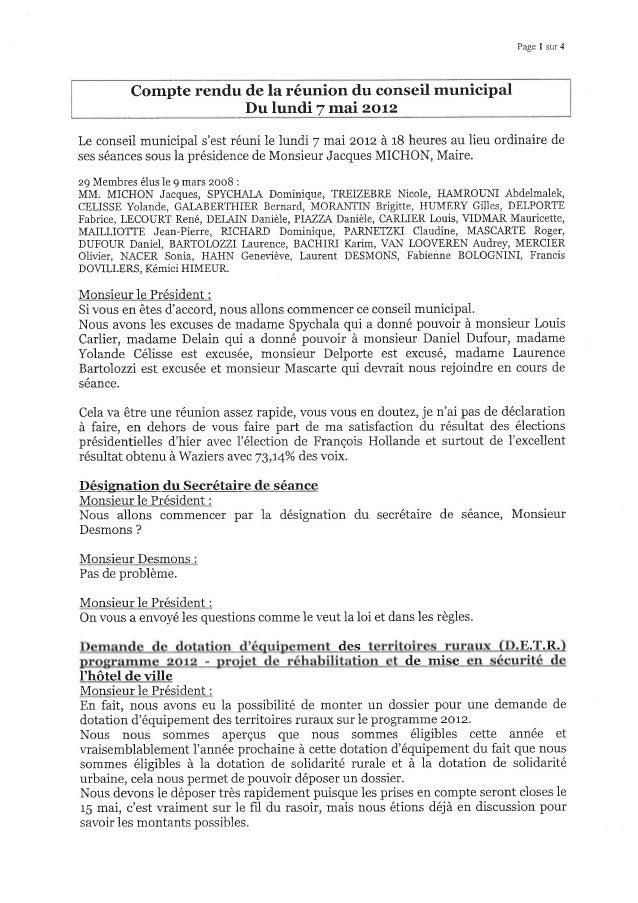 Page 1 sur 4 Compte rendu de la réunion du conseil municipal Du lundi 7 mai 2ot2 Le conseil municipal s'est réuni le lundi...