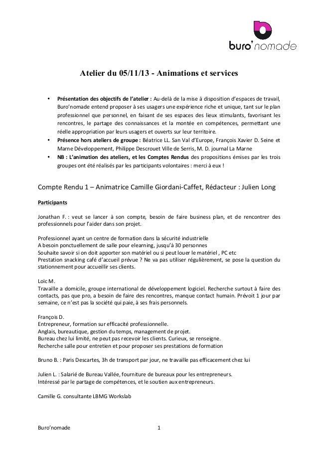 Atelier du 05/11/13 - Animations et services •  • •  Présentation   des   objectifs   de   l'atelier  :   A...
