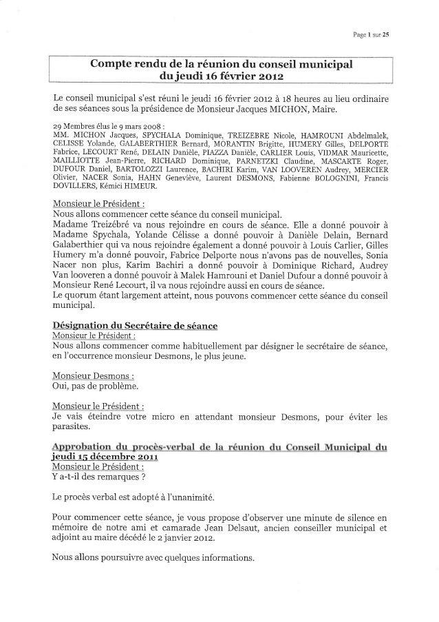 Page I sur 25 Compte rendu de la réunion du conseil municipal dujeudi 16 février zorz Le conseil municipal s'est téuni le ...