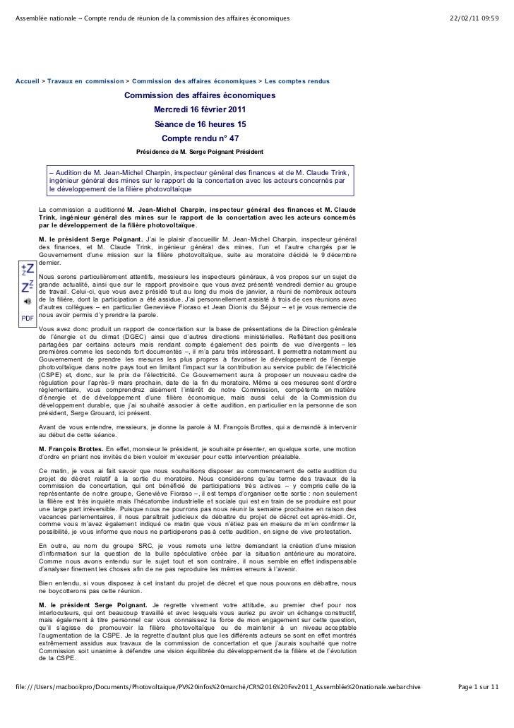 Assemblée nationale ~ Compte rendu de réunion de la commission des affaires économiques                                   ...