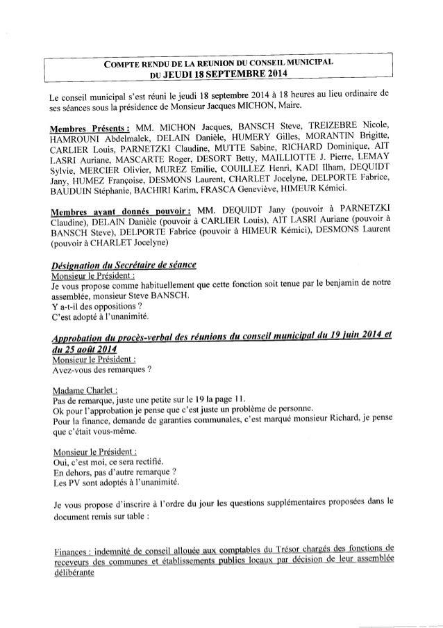 COMPTE RENDUDE LA REUNIONDUCONSEIL MUNICIPAL DUJEUDI 18SEPTEMBRE 2014 Le conseil municipal s'est réuni le jeudi l8 septemb...