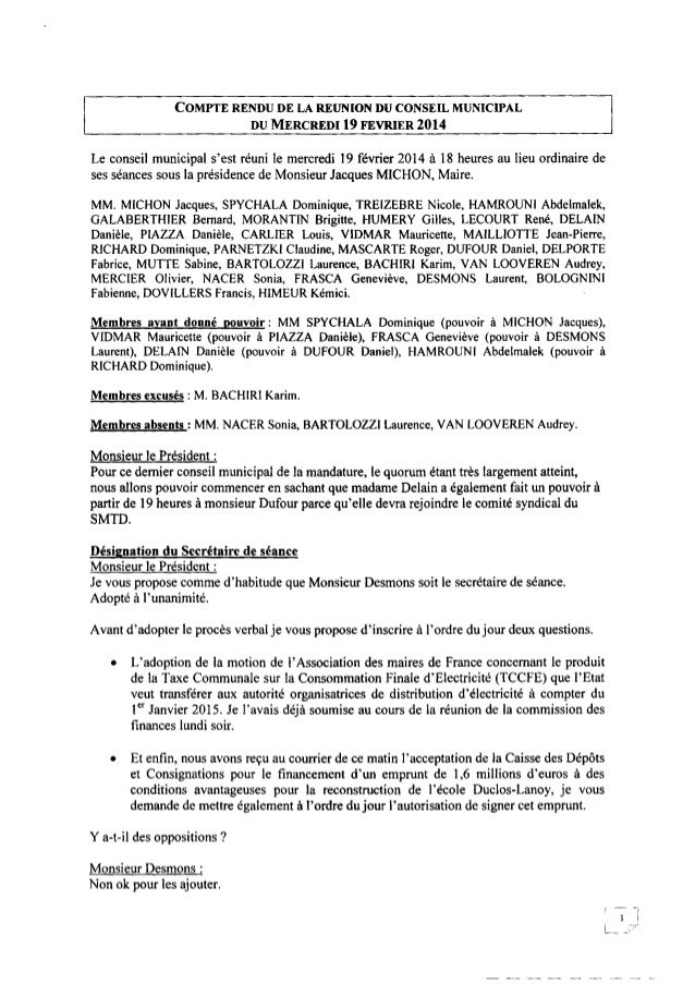 COMPTE RENDUDE LA R É U N I O N DU CONSEIL MUNICIPAL DUMERCREDIl9 FEVRIER 2014 Le conseil municipal s'est réuni le mercred...