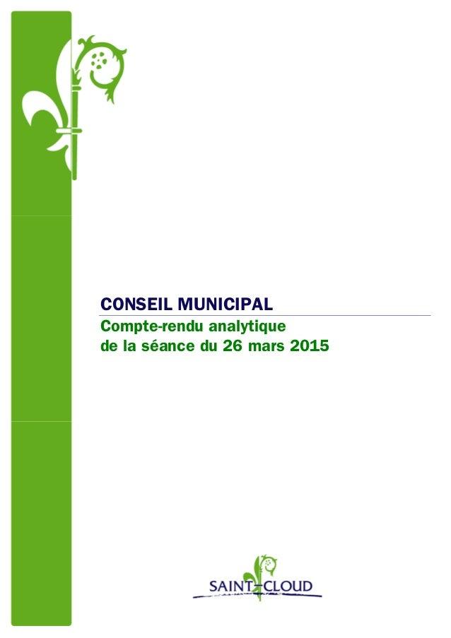 CONSEIL MUNICIPAL Compte-rendu analytique de la séance du 26 mars 2015