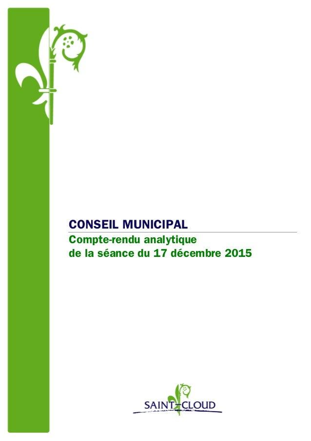 CONSEIL MUNICIPAL Compte-rendu analytique de la séance du 17 décembre 2015