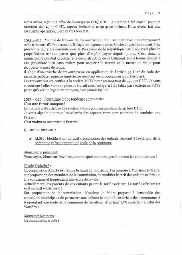 _ ._ __Pa.3°._l__15 Nous avons reçu une offre de l'entreprise COQUIDE : le marché a été conclu pour un montant de 14500 € ...