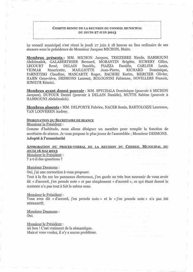 COMPTERENDU DE LA REUNION DU CONSEIL MUNICIPAL DU JEUDI 27 JUIN2013 Le conseil municipal s'est réuni le jeudi 27 juin à 18...