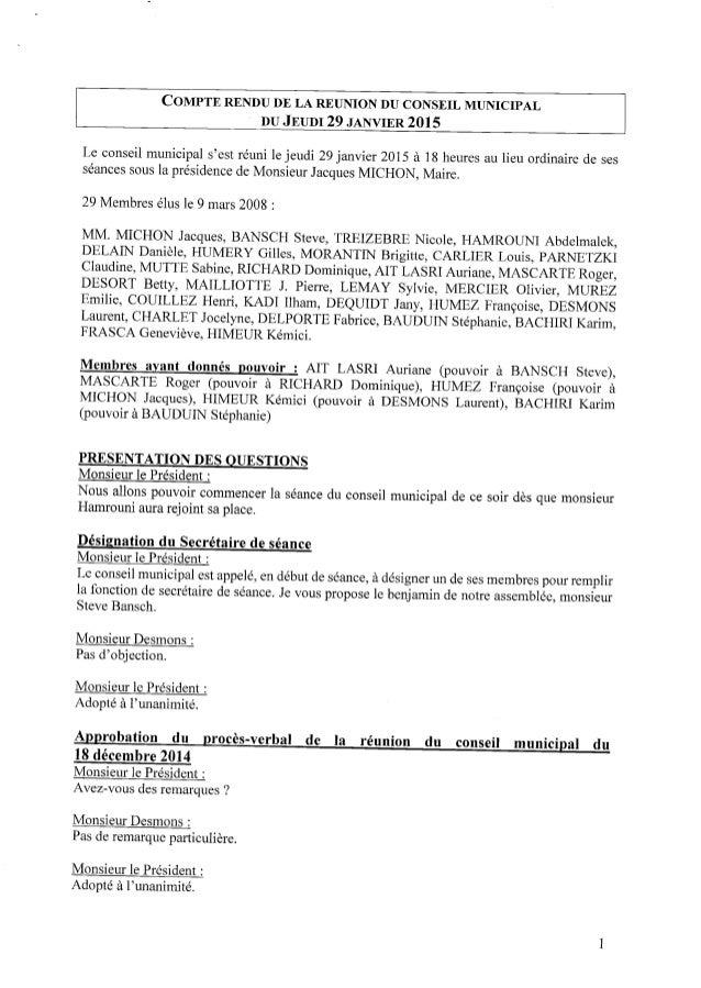 COMPTERENDUDE LA REUNIONDU CONSEIL MUNICIPAL ' DU JEUDI29 JANVIER 2015 Le conseil municipal s'est réuni lejeudi 29janvier ...