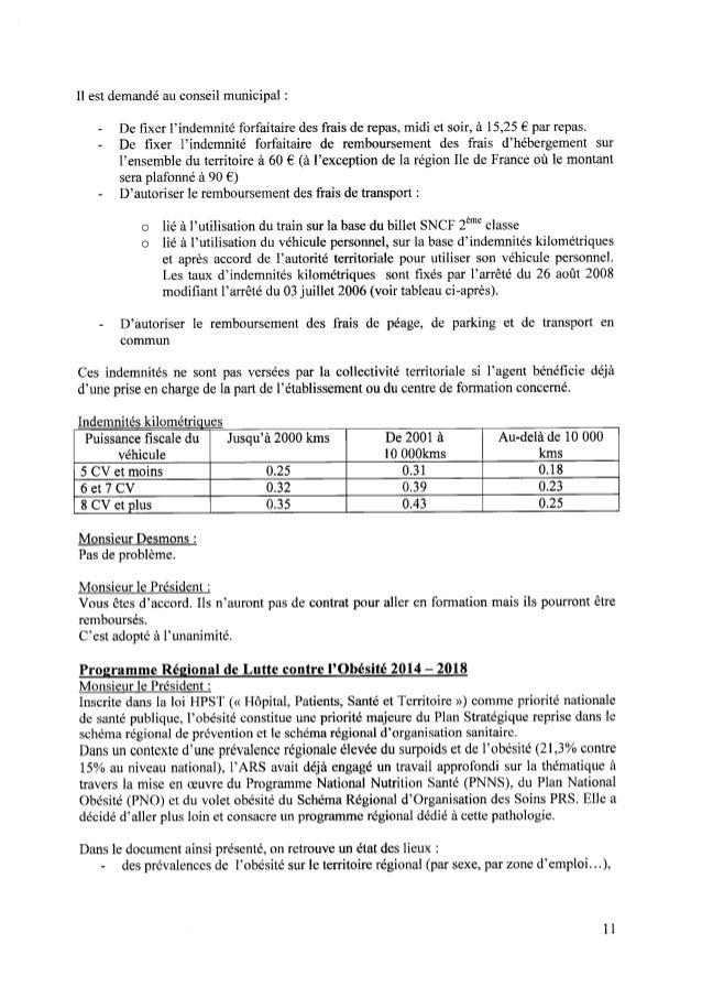 Il est demandé au conseil municipal : - De fixer l'indemnité forfaitaire des frais de repas, midi et soir, à 15,25€ par rep...