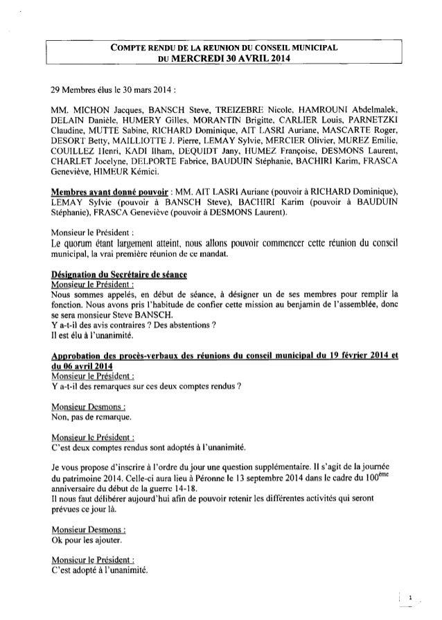 COMPTE RENDUDE LA REUNION DU CONSEIL MUNICIPAL DUMERCREDI30AVRIL 2014 29 Membres élus le 30 mars 2014 : MM. MICI-ION Jacqu...