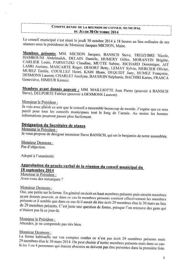 COMPTE RENDU DE LA REUNION DU CONSEIL MUNICIPAL DUJEUDI 30 OCTOBRE 2014 Le conseil municipal s'est réuni lejeudi 30 octobr...